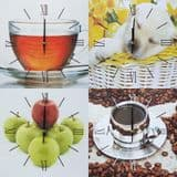 Square Kitchen Dining  Room Wall Clock  - Tea in Glass  Cup